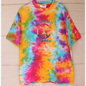 Vintage Tie Dye Embroidered Peace Sign T-Shirt